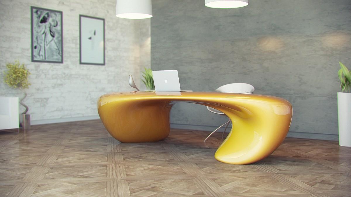 Авторский золотой стол для кабинета в стиле модерн