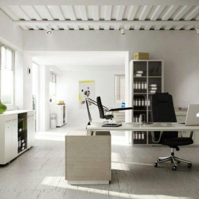 Белоснежный кабинет в стиле модерн