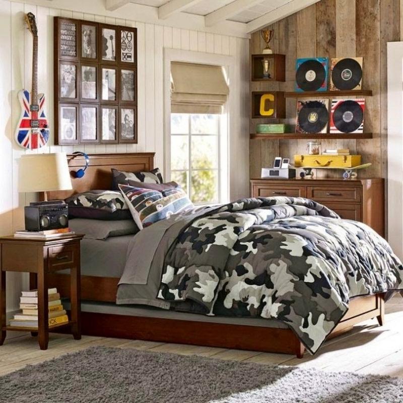 Комната в стиле милитари для подростка
