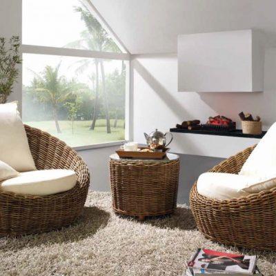 Кресла и журнальный столик из ротанга в экостиле