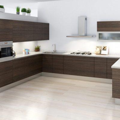 Темно-коричневая кухня в стиле контемпорари