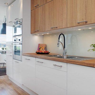 Прямая кухня в стиле контемпорари