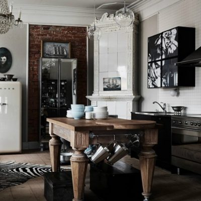 Нуар кухня эклектика