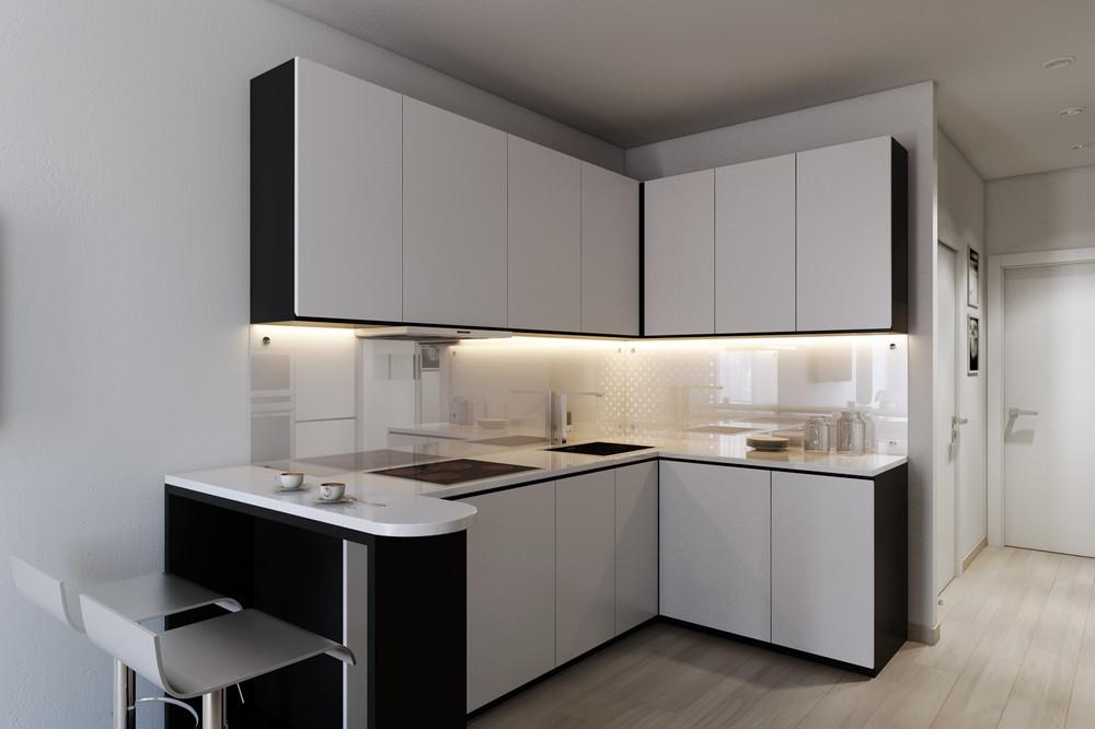 Черно-белая расцветка наиболее популярна среди угловых кухонь хай-тек