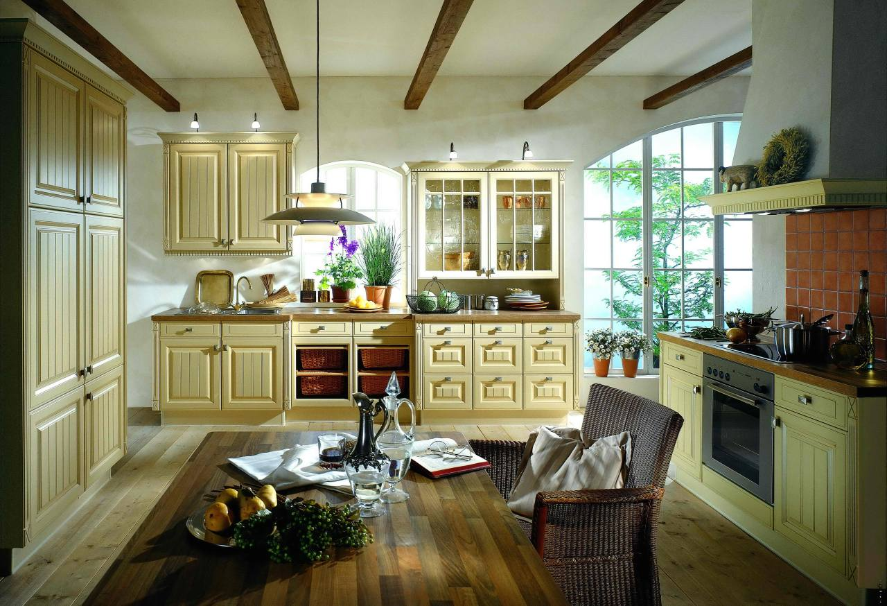 Светло-оливковый фасад кухни