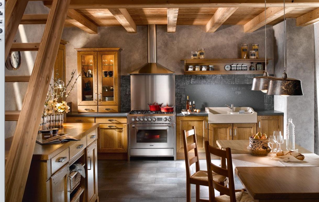 Деревянный неокрашенный фасад кухни