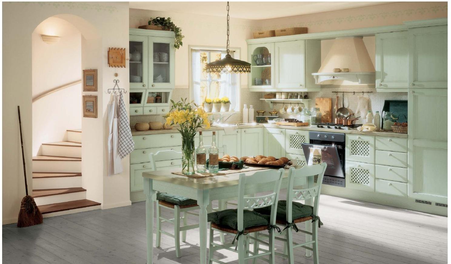 Светло-мятная просторная кухня