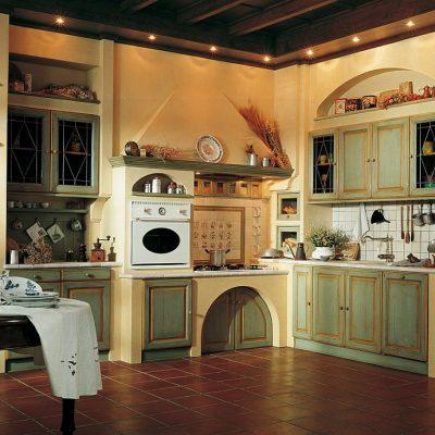 Зелено-бежевая кухня в стиле прованс