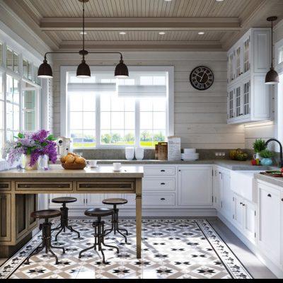 Тройной черный светильник для кухни прованс