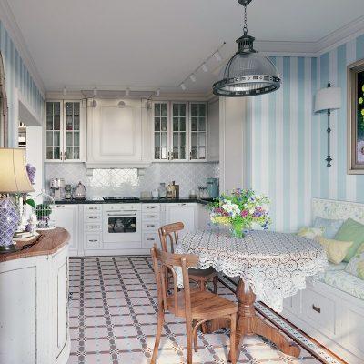 Люстра из стекла и металла на кухню в стиле прованс