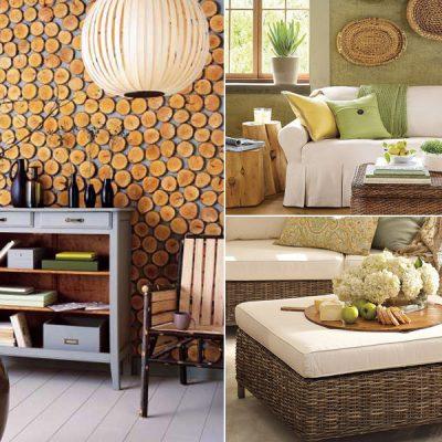 Мебель и ротанга и стена из спилов в экостиле
