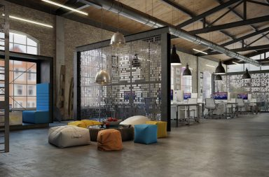 Офис в индустриальном стиле лофт