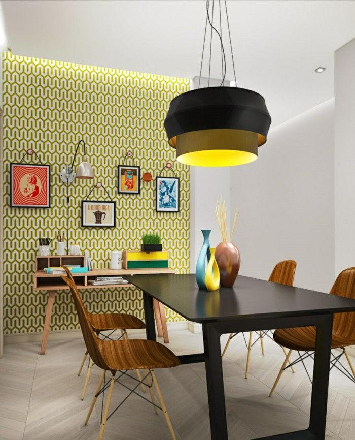 Яркие инсталляции и лампы необычной формы разнообразят гостиную