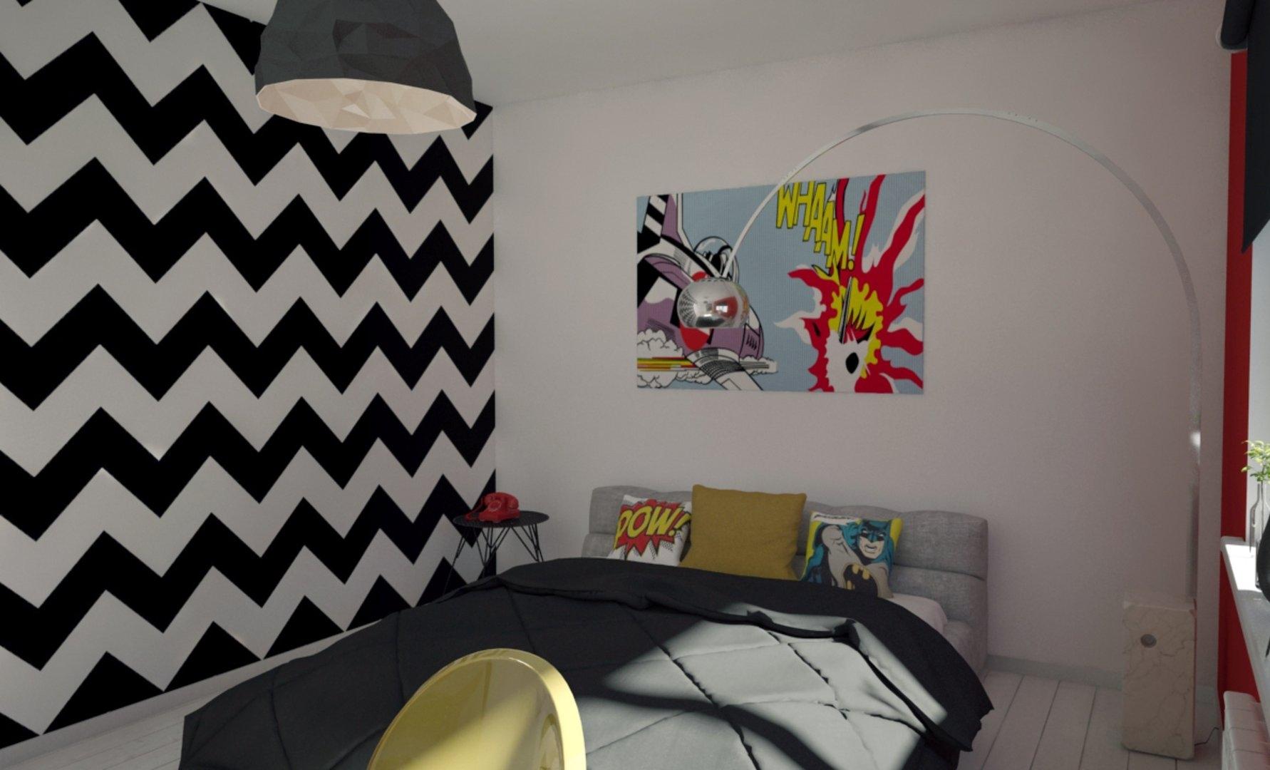 Мотивы комиксов в комнате для подростка в стиле поп-арт