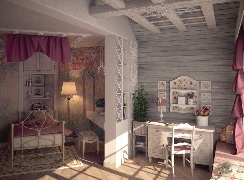 Кованая кровать в кмонате для девушки в стиле прованс