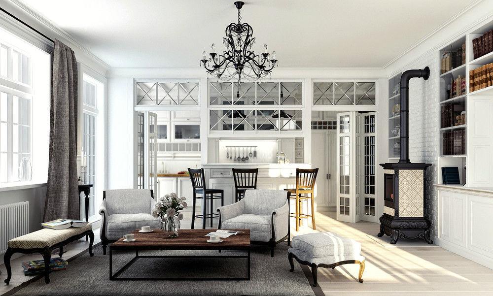 Даже при строгой цветовой гамме натуральные ткани штор и деревянная мебель помогут воссоздать прованский стиль