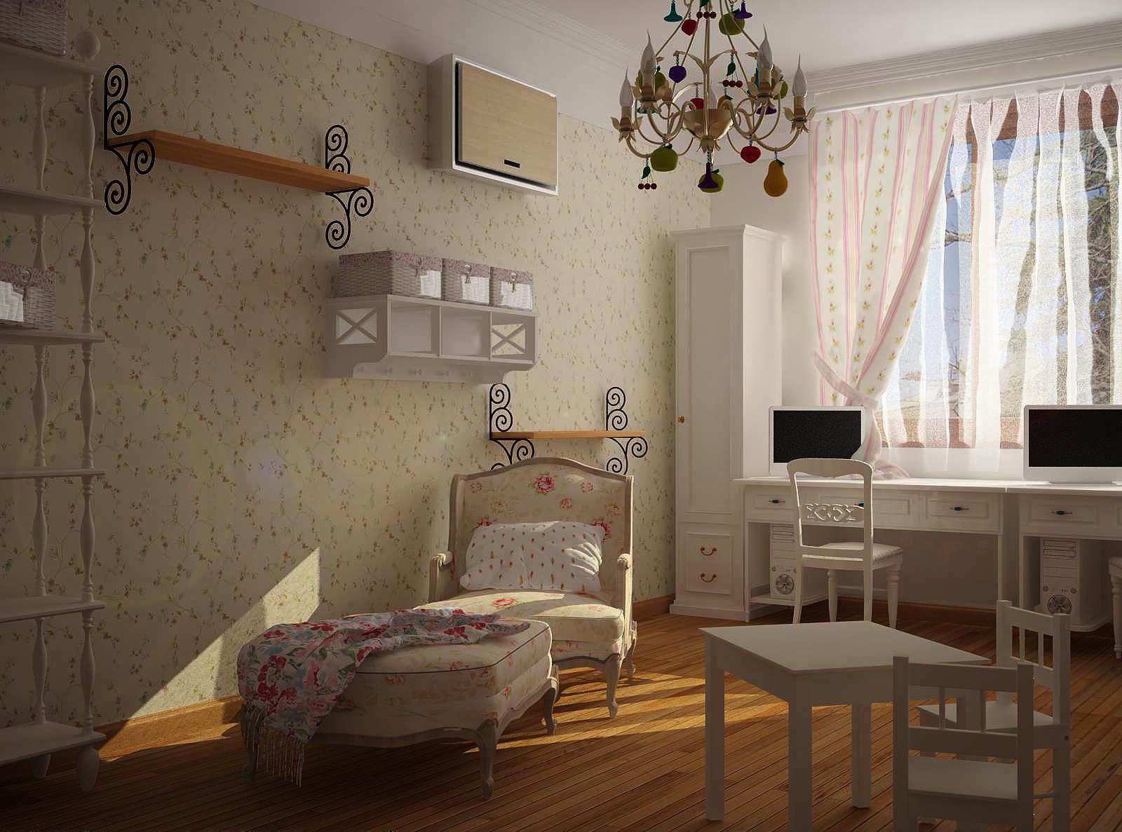 Цветочные узоры на обоях и мебели великолепно дополнят комнату в прованском стиле