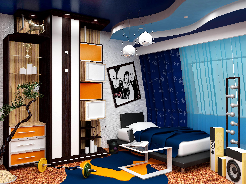 Зонирование потолка в комнате для подростка