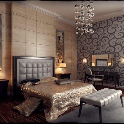 Уютная спальня в стиле арт-деко