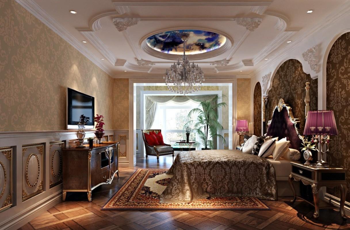 Роскошная и современная спальня в стиле неоклассика
