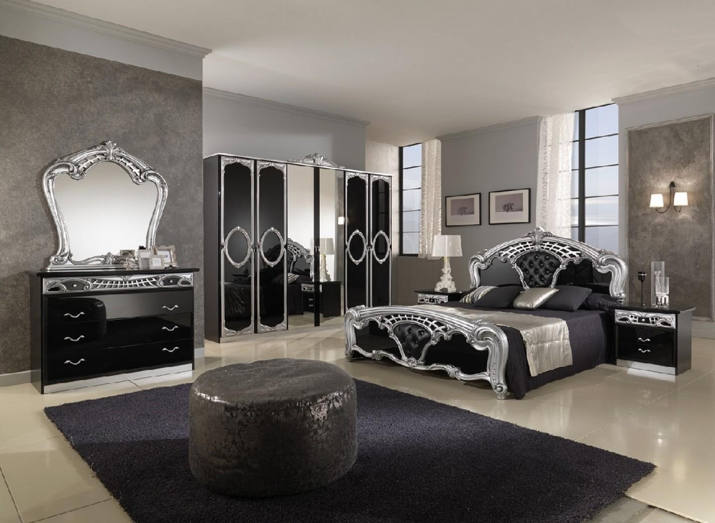 Зеркальный черный мебельный гарнитур в неоклассическом стиле
