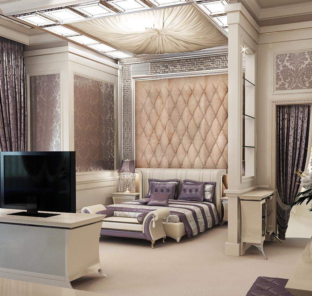 Зонирование пространства спальни в стиле неоклассика