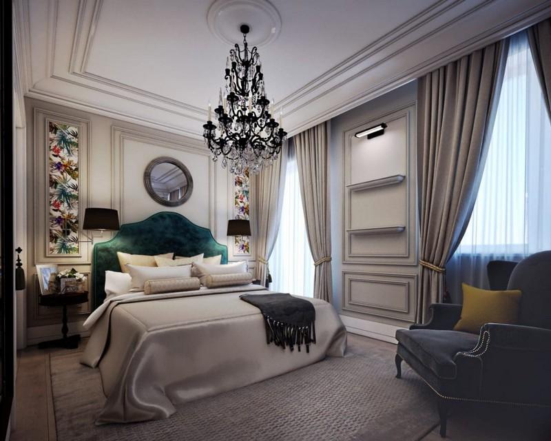 Шторы для спальни в стиле неоклассика должны быть тяжелыми и выглядеть дорого