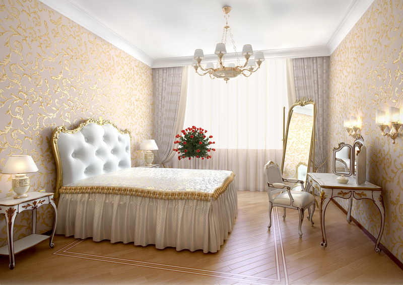 Стены в спальне рококо можно оформить обоями с орнаментом