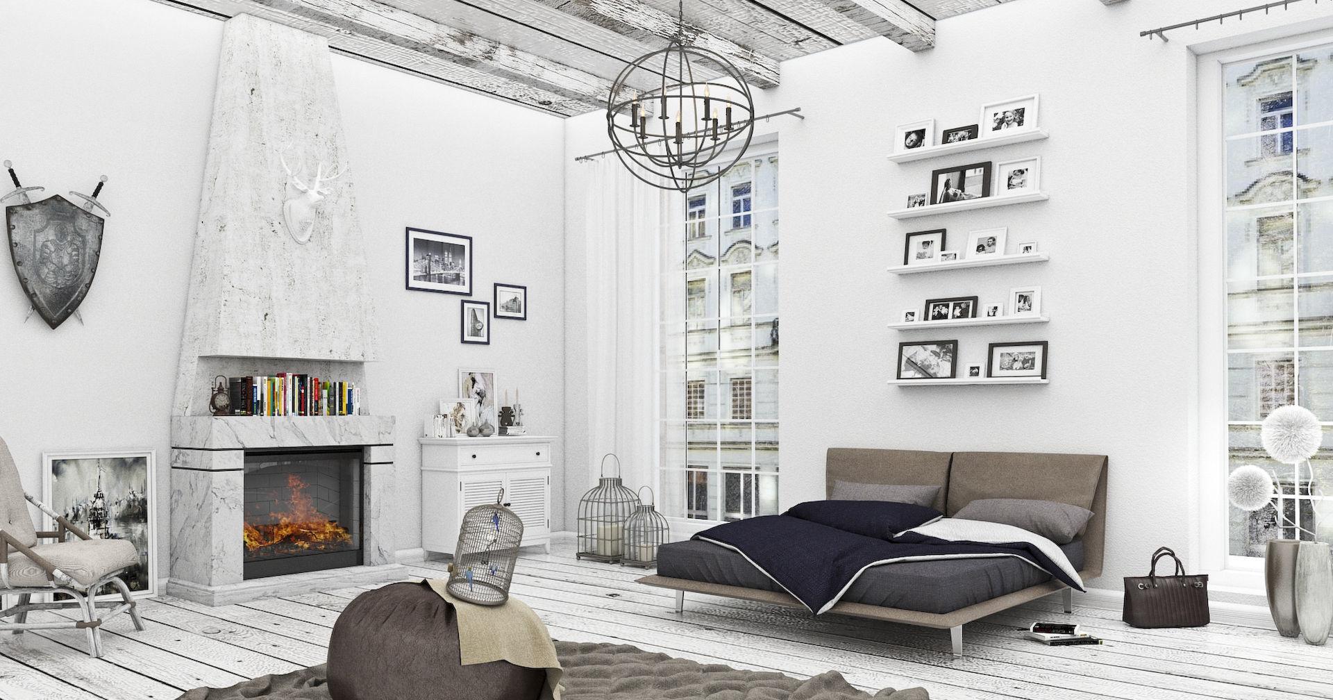 Гостиная-спальня в скандинавском стиле