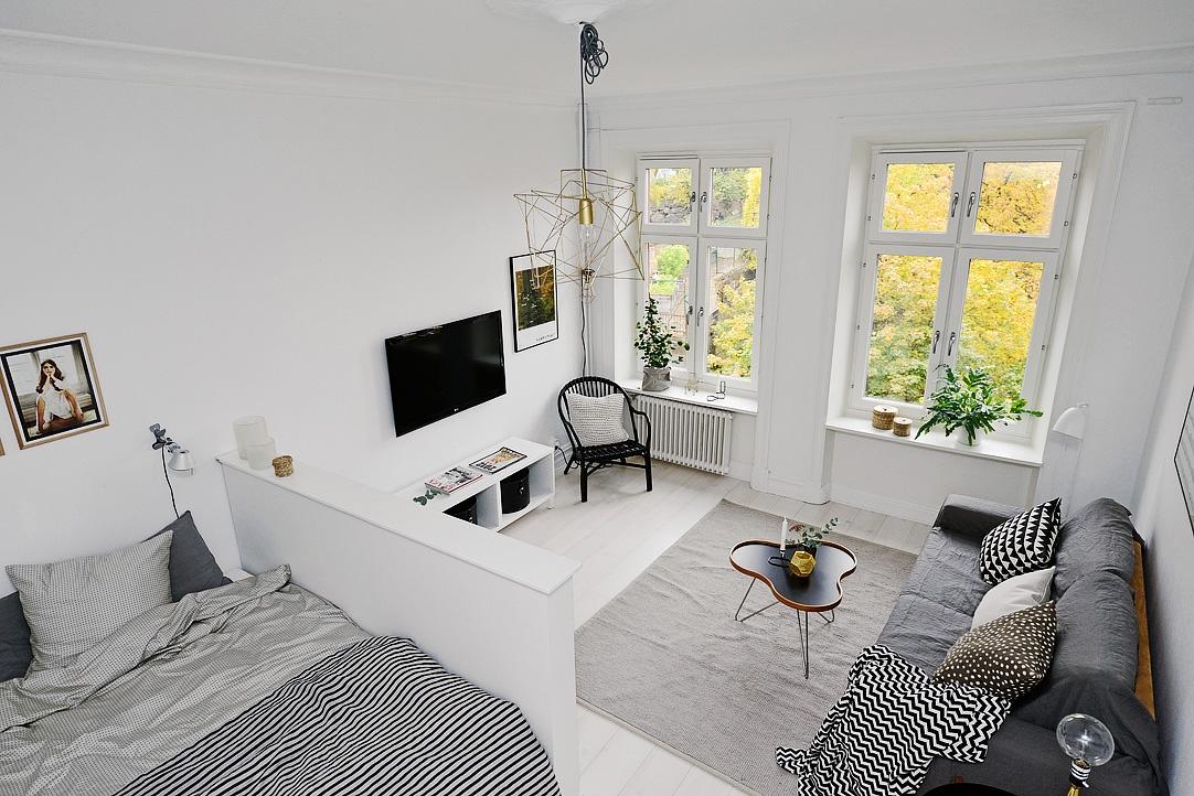 Удачный вариант гостиной, совмещенной со спальней