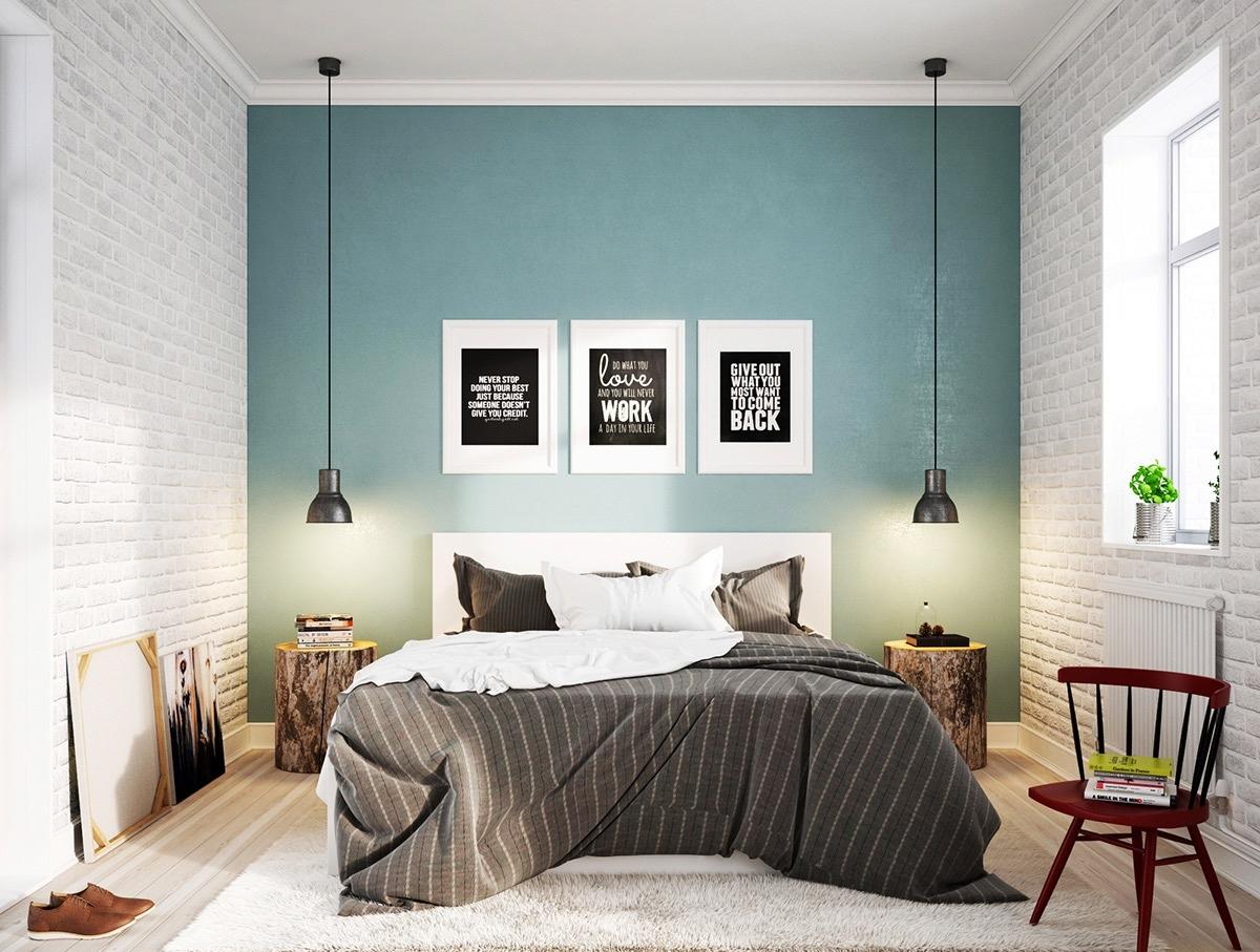 При оформлении спальни в скандинавском стиле используют практичную и функциональную мебель