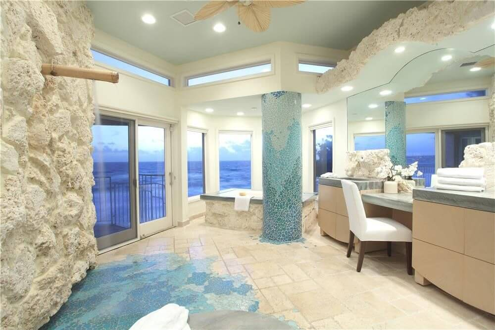 Для оформленя ванной в морском стиле наиболее часто выбирают голубой и бежевый цвет