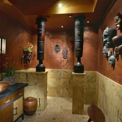 Ванная в средиземноморском стиле с этническим декором