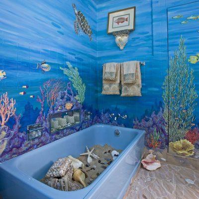 Роспись ванной в морском стиле