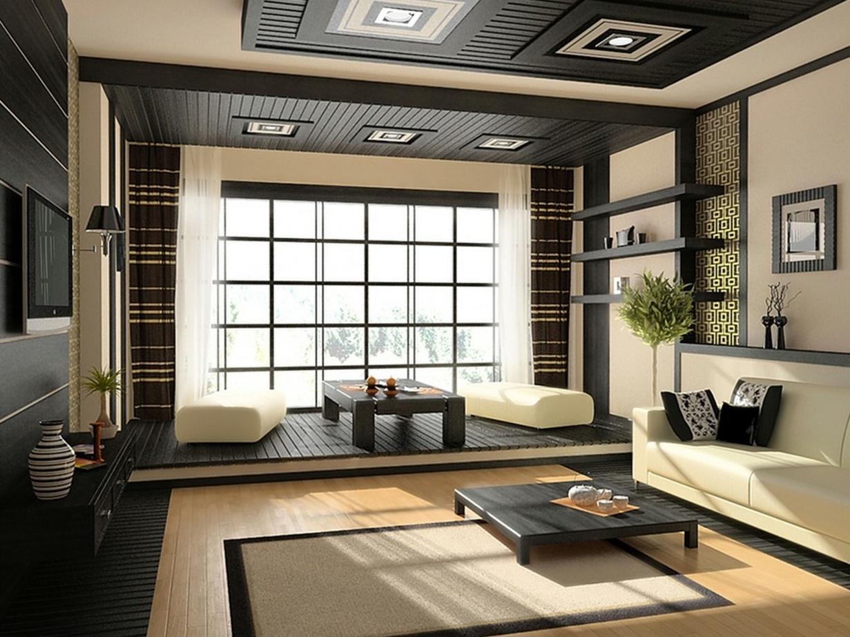 В азиатского типа гостиных стены имеют светлые оттенки, чаще всего песочные и бежевые