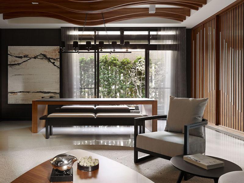 Мебель для азиатской гостиной лучше выбирать простой формы