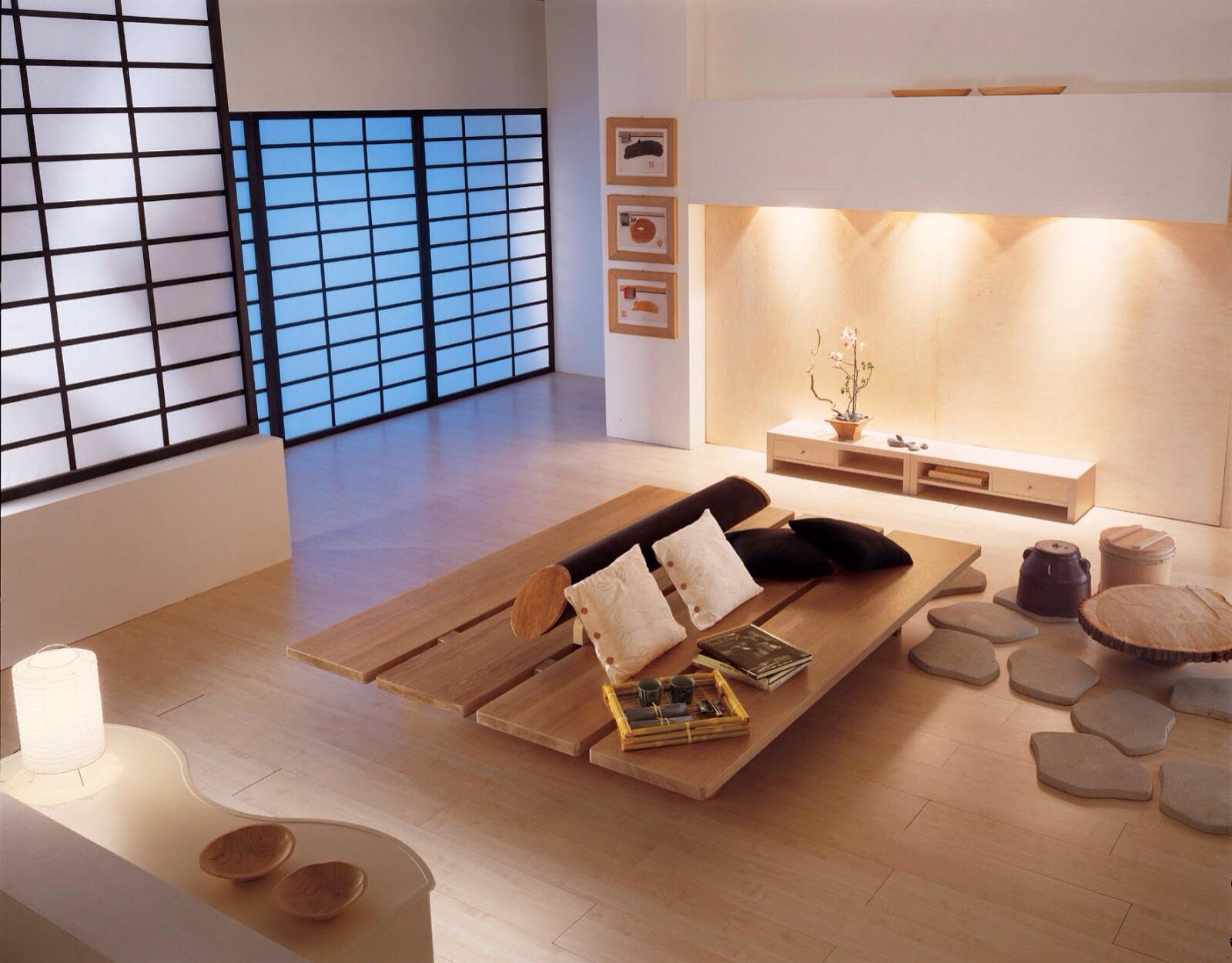 В китайских и японских гостиных напольное покрытие редко бывает темным, как правило это ламинат бежевых оттенков