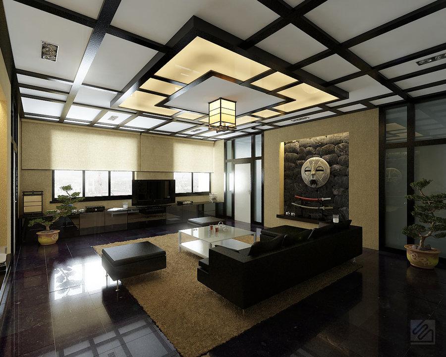 Потолок в восточно-азиатской гостиной может быть оформлен перекрещивающимися балками