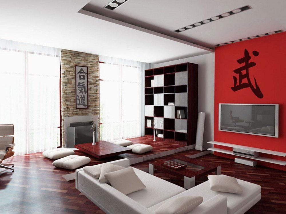 При создании китайской гостиной допустимо использовать красный цвет