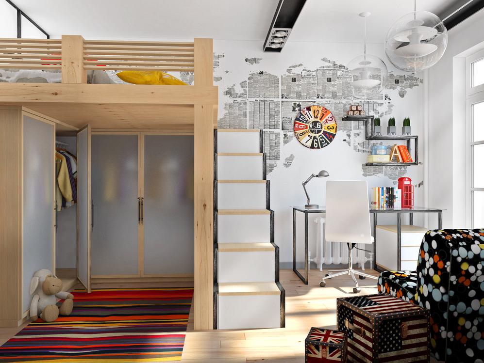 Кровать-чердак в комнате для подростка в стиле лофт