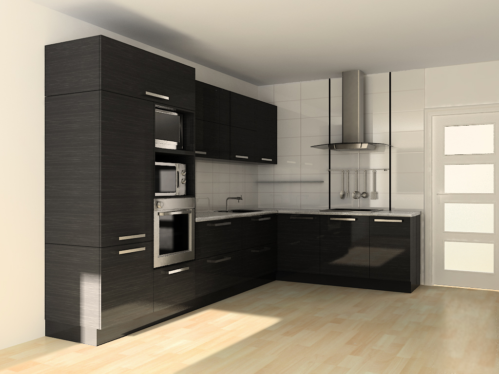 Дизайн угловой кухни хай-тек