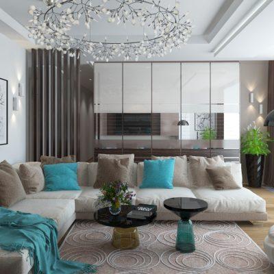 Яркие оттенки освежают гостиную
