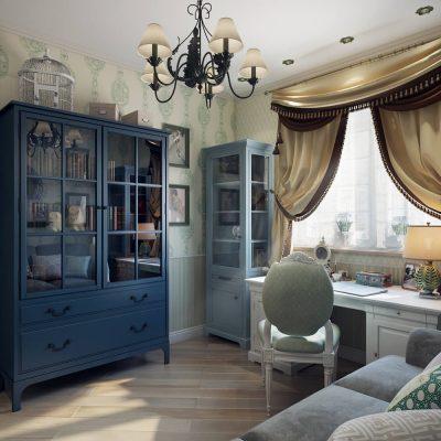 Применение синего шкафа в провансе