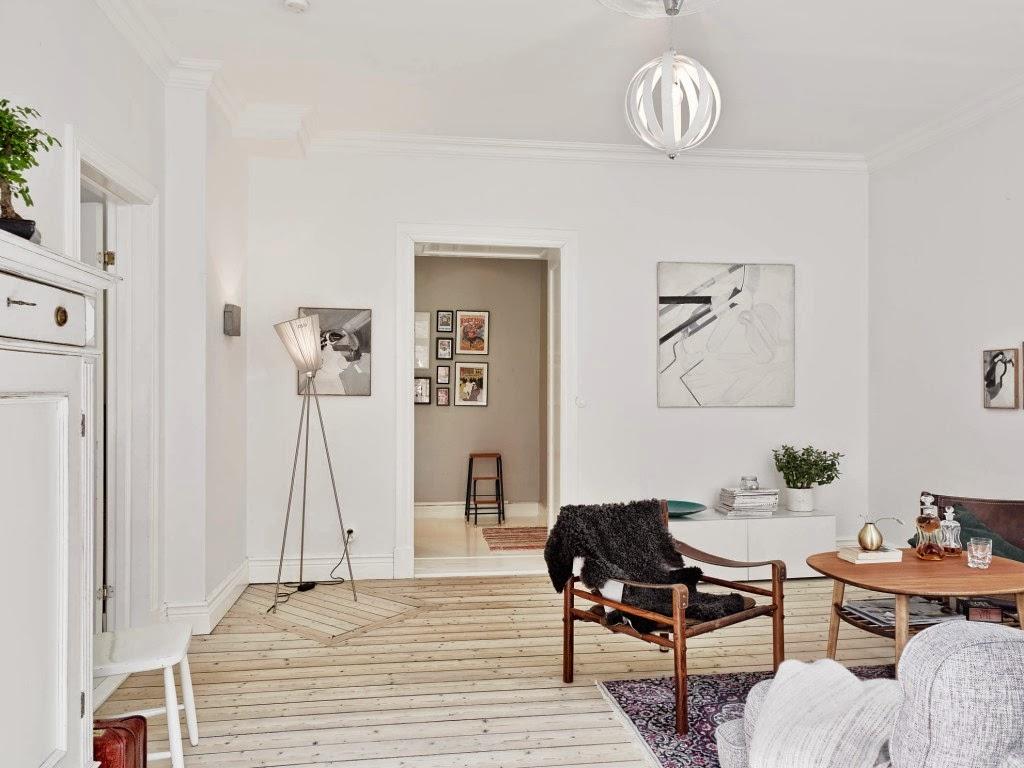 Стены в гостиной в скандинавском стиле