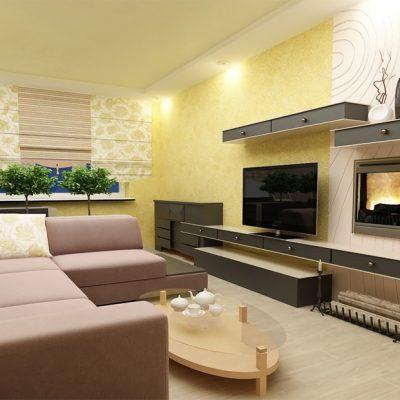Лимонный цвет стен расширяет гостиную