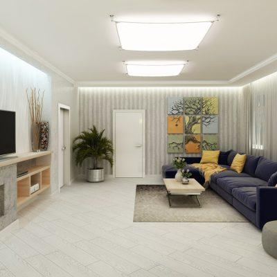 Просторая современная гостиная комната