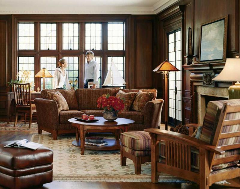 Расстановка мебели в гостиной в стиле кантри