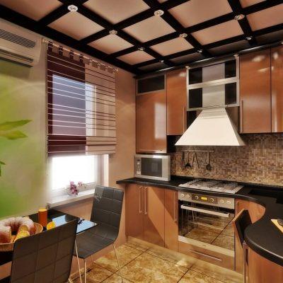 Потолок кухни из балок