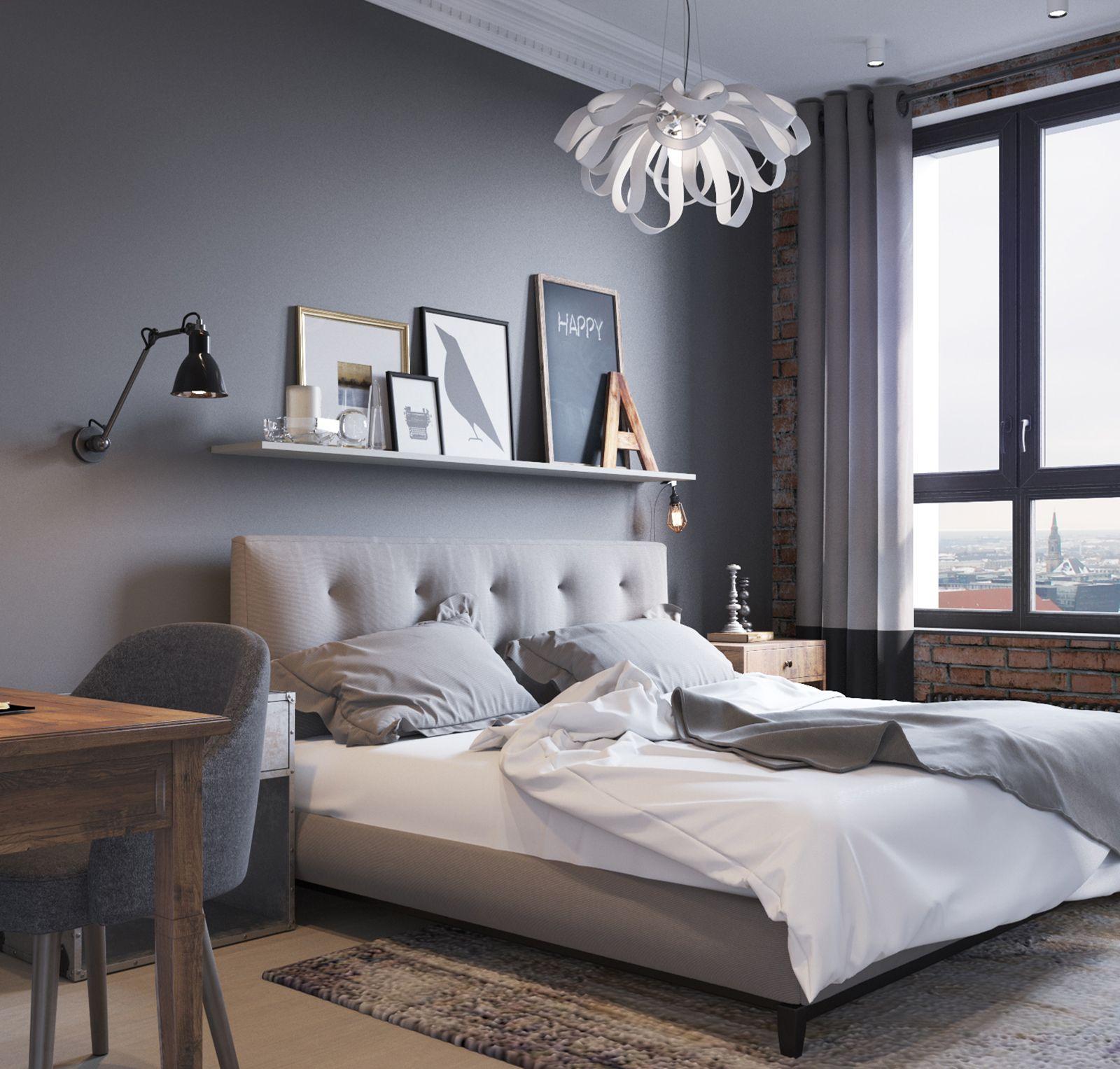 Люверсы в спальню с серыми обоями