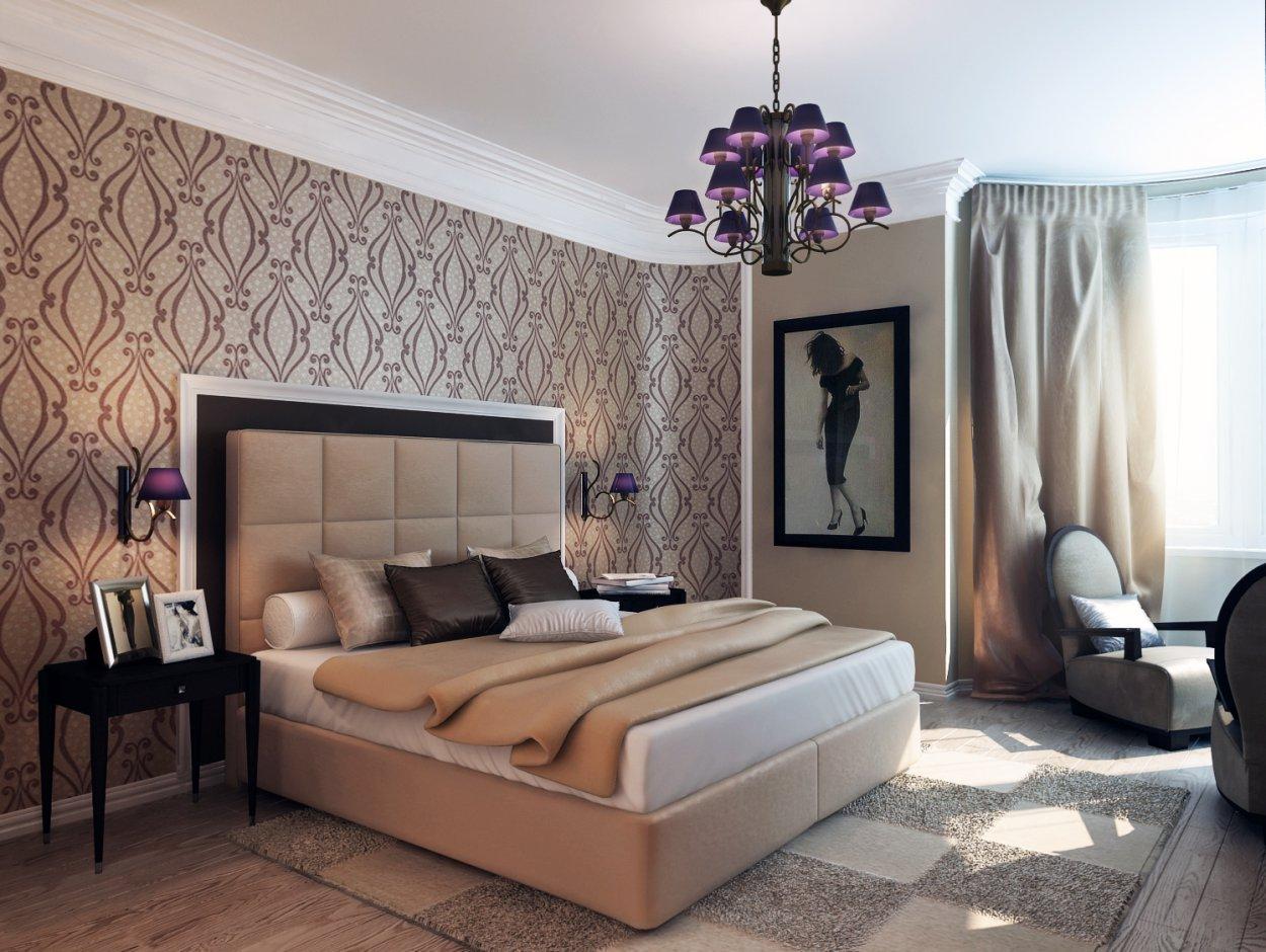 Большая бежевая спальня в современном стиле